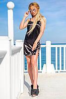 Женское атласное платье в спортивном стиле (черное) Love KAN № 0203