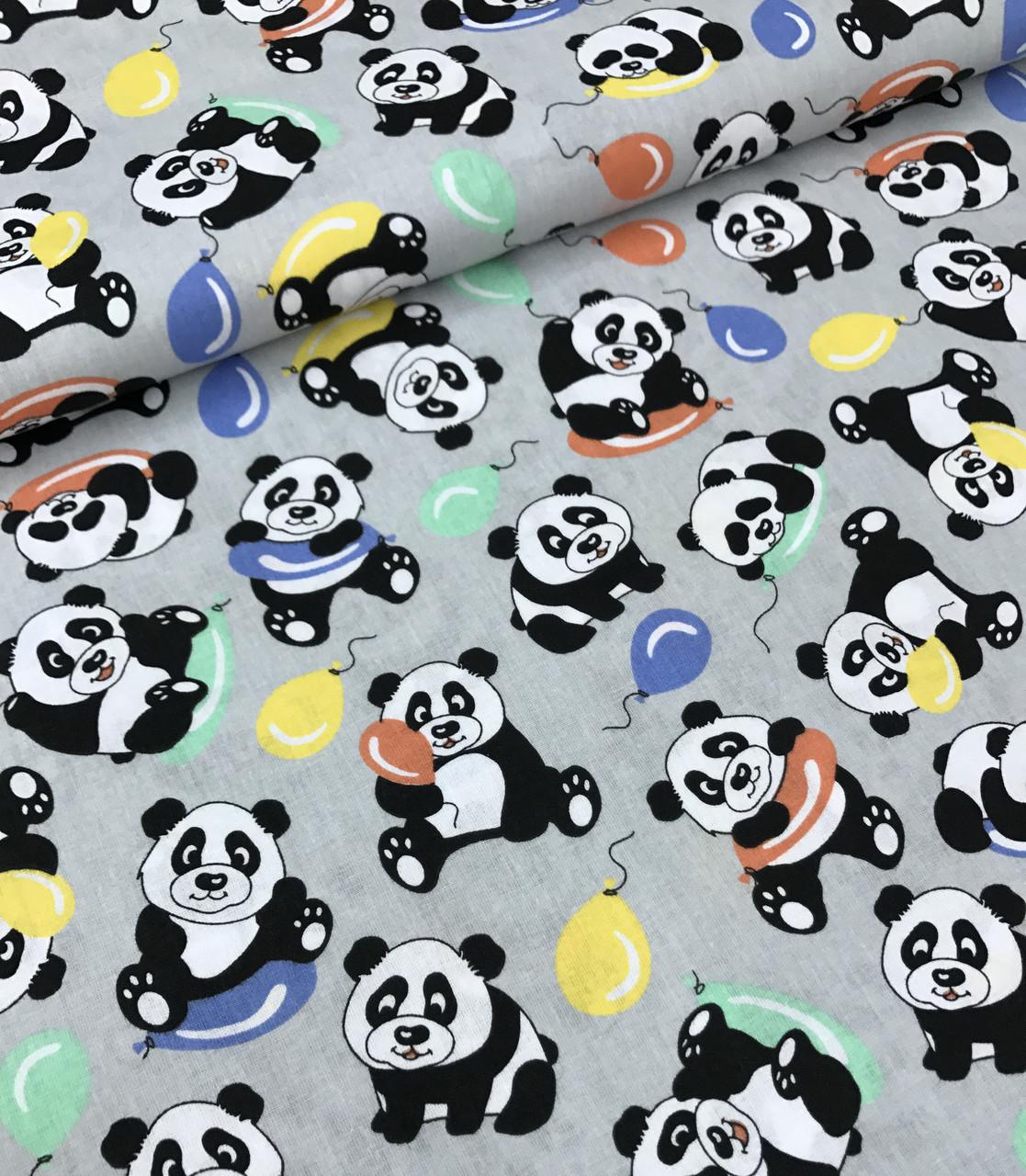 Хлопковая ткань польская панда с разноцветными шариками на сером №587