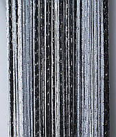 Шторы-нити кисея люрекс радуга 3мх3м сеый с черным