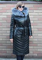 Пальто из экокожи, мех - чернобурка