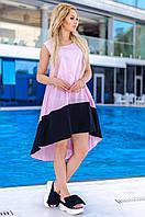 Женское коттоновое двухцветное платье (розовое) Love KAN № 0204