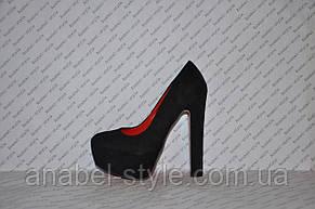 Туфли замшевые  на высоком устойчивом каблуке черные, фото 2
