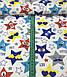 Хлопковая ткань звезды в очках синие, красные, желтые, серые на белом №584, фото 2