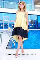 Женское коттоновое двухцветное платье (желтое) Love KAN № 0204