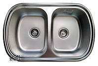 Кухонная мойка 77*49 см декор врезная две чаши металл 0,8 мм Vayorika 2C Textură