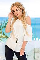 Женская блуза с брошкой-черепом (белая) Love KAN