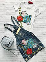 Женский джинсовый комбинезон с юбкой (розы) Love KAN № 0401
