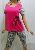 Пижама женская футболка и бриджи большие размеры 52,54,56, Харьков, фото 3