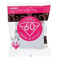 Фільтри паперові Hario V60 01, 100 штук, білі