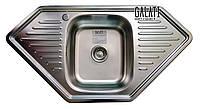 Кухонная мойка 95*50 угловая трапеция матовая металл 0,8 мм Galaţi Meduză Satin