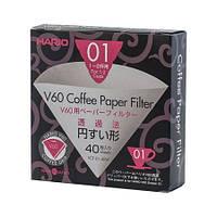 Фільтри паперові Hario V60 01, 40 штук, білі