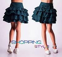Школьная юбка для девочки Оборочка-габардин зеленая