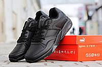 Кожаные мужские кроссовки Puma Trinomic, полностью черные