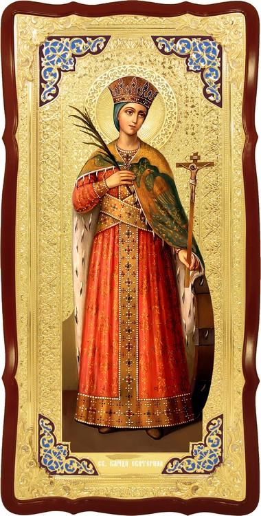 Храмовая большая икона в ризе Святая Екатерина в церковной лавке
