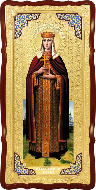 Храмовая икона в ризе Святая Людмила в церковной лавке