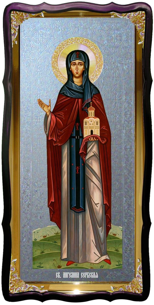 Икона с фоном под серебро Святая Ангелина Сербская в церковной лавке