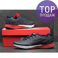 Мужские кроссовки Nike Lunarlon, темно синие с красным / кроссовки мужские Найк Лунарлон, пресс кожа, модные