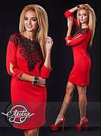 Красное платье с кружевом, рукав три четверти - 13147