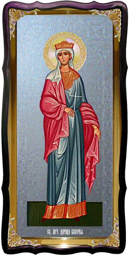 Икона с фоном под серебро Святая Валерия в церковной лавке