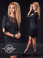 Элегантное приталенное платье с кружевом - 13150