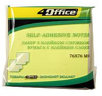 Бумага для заметок с липким слоем, 100 л, 76x76 мм, желтая / 4Office
