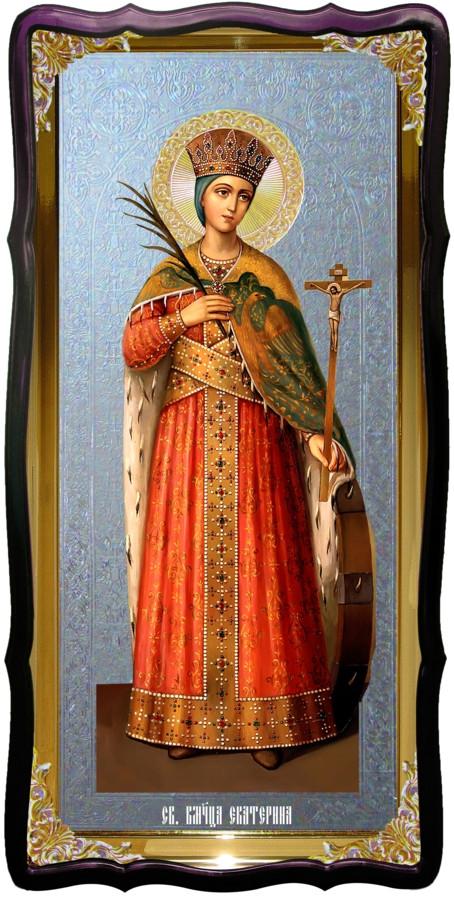 Икона с фоном под серебро Святая Екатерина в церковной лавке