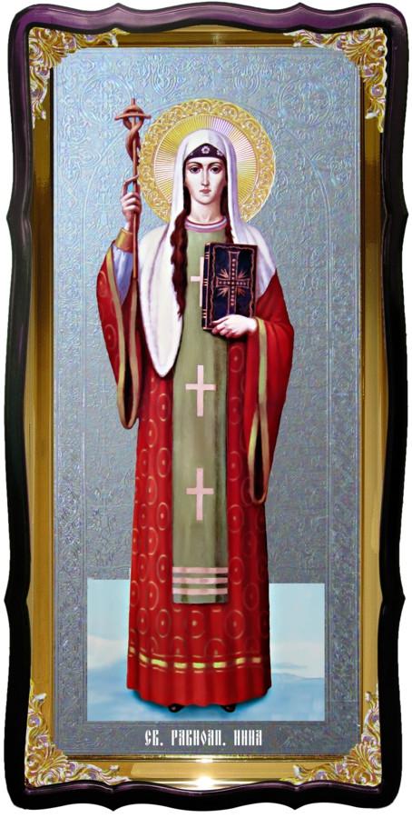 Икона большая под серебро Святая Нина в церковной лавке