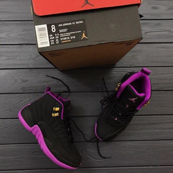 Женские кроссовки в стиле Air Jordan Retro 12 BLACK  VIOLET  продажа ... 3f70e80cbf8