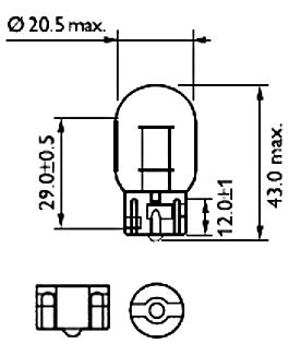 Светодиодная автомобильная лампа с цоколем T20(7440)(W21W) 9W 9-30V-Красный, фото 2