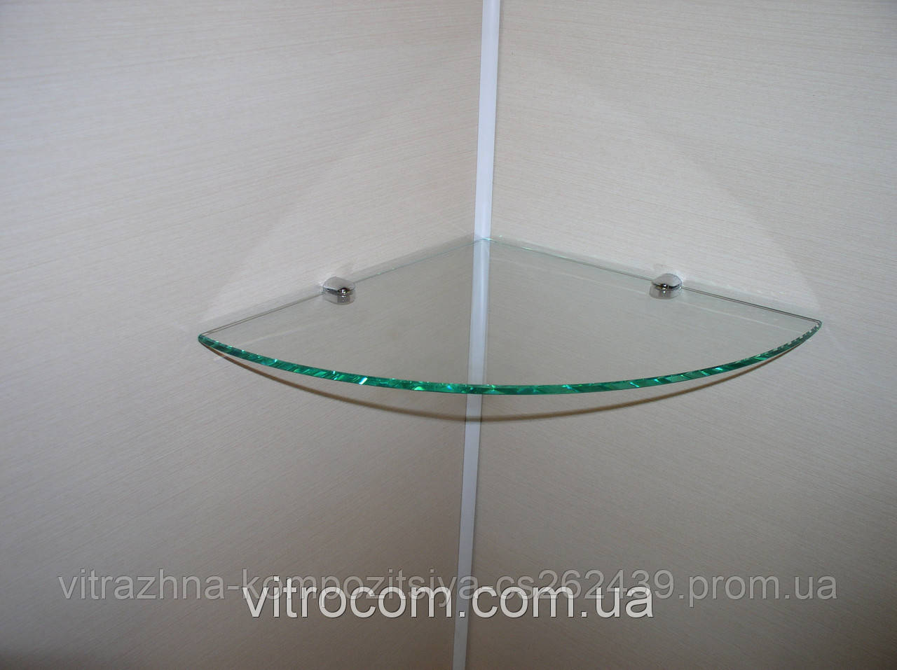 Полка стеклянная угловая 6 мм прозрачная 35 х 35 см