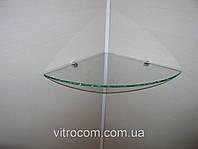 Полка стеклянная угловая 6 мм прозрачная 35 х 35 см, фото 1