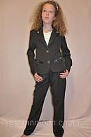 """Школьный костюм тройка  для девочки """"Бантик"""" черный., фото 1"""
