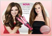 Плойка выравниватель для волос 2 в 1 Nova NHC-2009, утюжок для волос