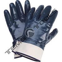Маслобензостойкие нитриловые перчатки с жесткми манжетом МБС Синие 125 г