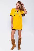 Желтое хлопковое платье со шнуровкой на груди