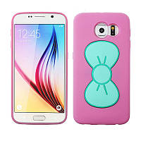 Чехол-накладка для Samsung Galaxy S6 G9200 - Силиконовый чехол стенд для телефона Самсунг розовый