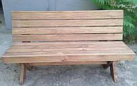 Скамья со спинкой из натурального дерева из комплекта Дельта 2м