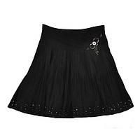 Школьная юбка клеш для девочки, черная, р.122-146