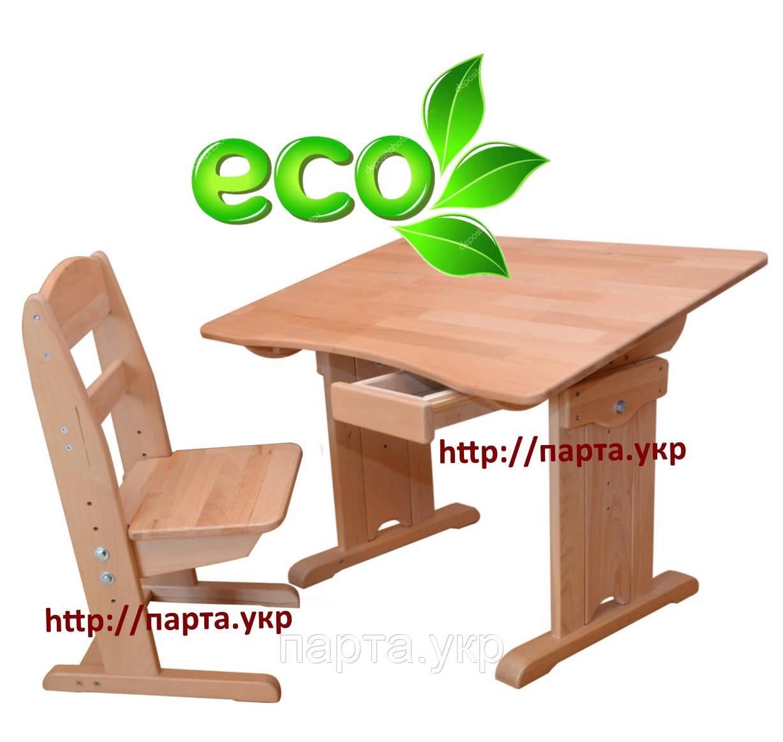 Детская парта со стульчиком, Бук массив, детский стол и стул