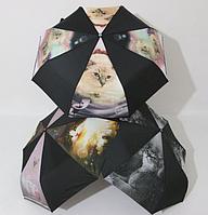 Женский зонт небольшого размера полный автомат с кошечками