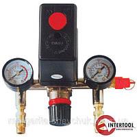 Прессостат в сборе (прессостат, редуктор, 2 манометра, предохранительный клапан, два выхода) INTERTOOL (PT-9094)