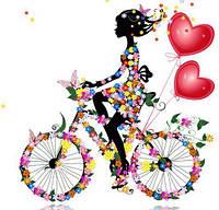 Девушка на велосипеде с сердечками 5Д (частичная выкладка) 30*30 см