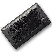 Стильный лаковый кожаный кошелек ST в черном цвете с блоком для кредитных карт (15187)