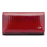 Стильный лаковый кожаный кошелек ST в красном цвете с блоком для кредитных карт (15189)