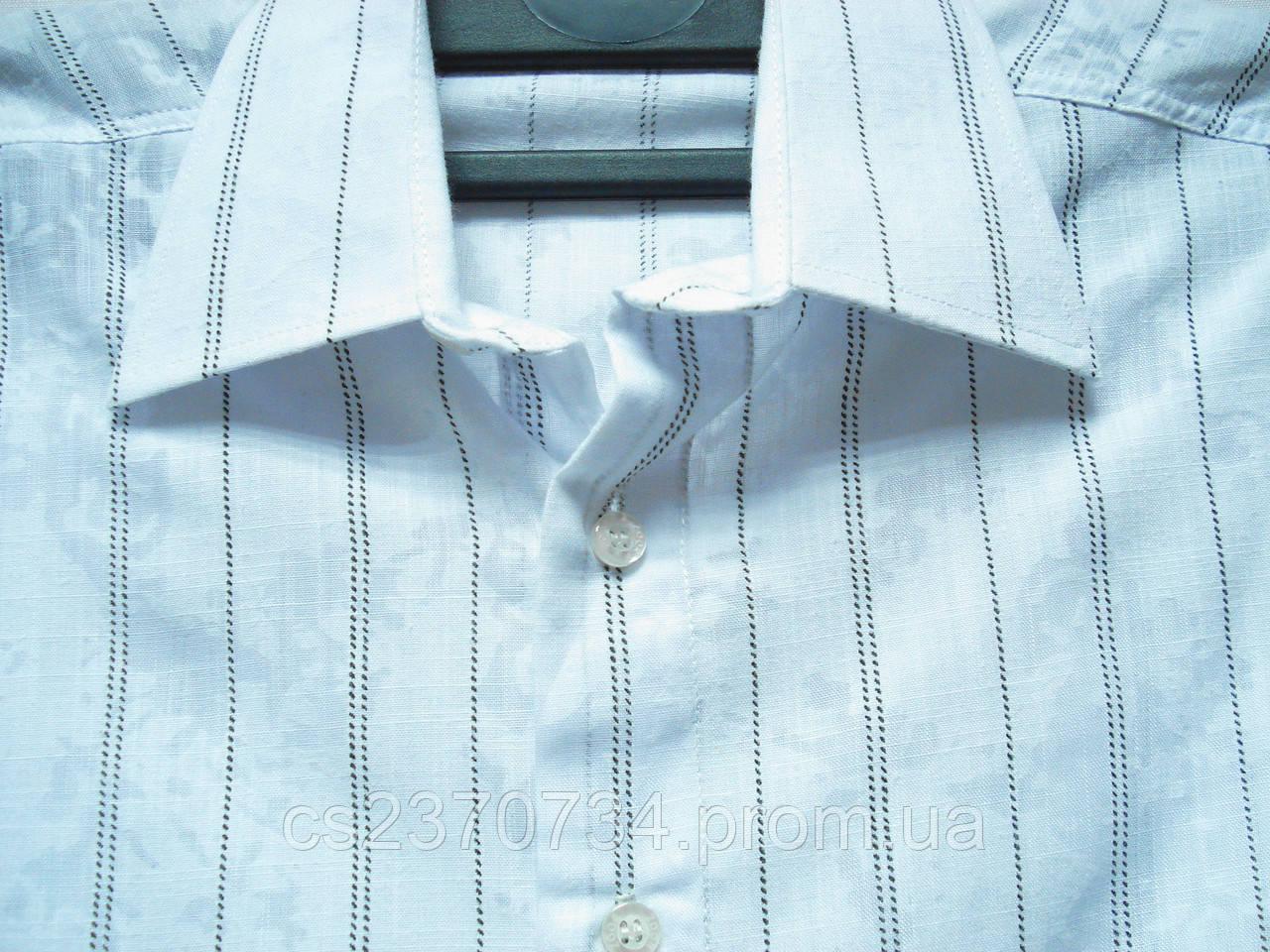 Шведка для мальчика Zoor приталенная белая с тонкой чёрной полоской(разм S,M,L,XL)