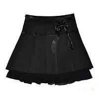 Школьная юбка с бантом для девочки, черная, р.122-146