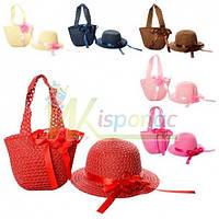 Набор пляжный сумочка и шляпка X11549, 6 цветов, Цвет Бежевый