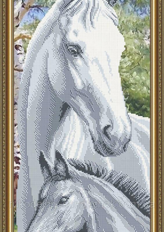 Схема на ткани под вышивку бисером Art Solo VKA3097. Лошадь с жеребенком