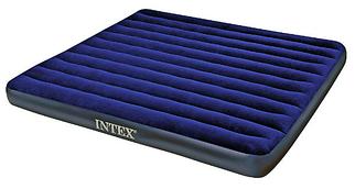 Двухместный надувной матрац с велюровым верхом Intex, темно-синий