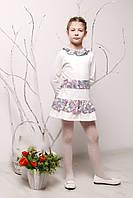 Детское платье с поясом р. 116 для девочки ткань ТРИКОТАЖ 3754 Белый